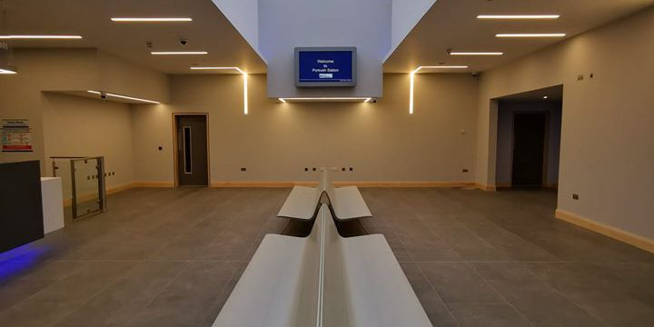 Light Forms LPLR recessed profiles installed within internal plasterboard ceiling and walls